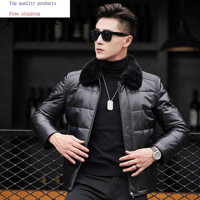 Genuine Leather Jacket Men Mink Fur Collar Duck Down Jackets Winter Jacket Men Sheepskin Coat Cuero Genuino 81X8703YY265