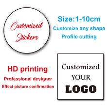 Etiqueta feita sob encomenda de 100 pces 2-10cm etiquetas personalizadas ne logotipo/casamento/projete suas próprias etiquetas/e