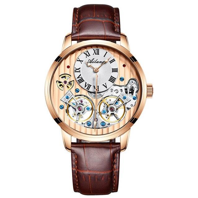 AILANG AAA جودة ساعة مكلفة مزدوجة توربيون سويسرا الساعات أفضل العلامة التجارية الفاخرة الرجال التلقائي ساعة ميكانيكية الرجال 4