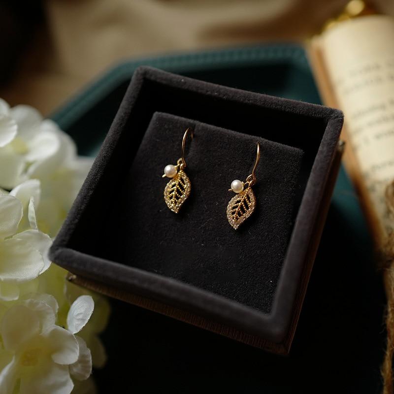 hollow delicate small leaves fresh water white pearl  earrings ear jewelry cute