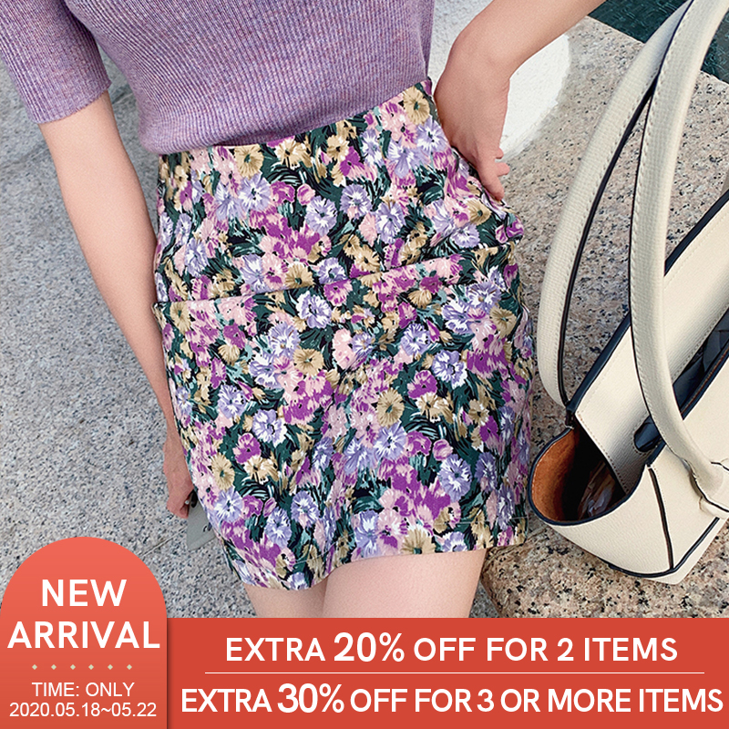 MISHOW  A Line Skirts 2020 Spring Summer Style Women Charming Floral Prints High Waist Ruffle Sexy Mid Skirt Ladies  MX20B1646