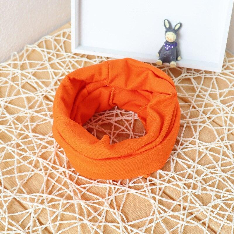 Милый хлопковый детский шарф, Детские однотонные осенне-зимние теплые шарфы с принтом, шарф с круглым вырезом для мальчиков и девочек - Цвет: 11