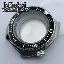 Miuksi – boîtier de montre en argent stérile, 45mm, verre saphir, lunette noire, adapté au mouvement NH35 NH36