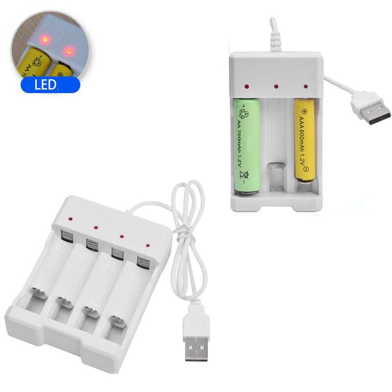 Saída universal usb 3/4 slot adaptador de carregador de bateria para aa/aaa bateria recarregável carga rápida ferramentas de carregamento da bateria