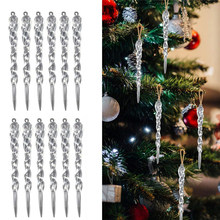 12pcs 13cm Simulation Ice Xmas Tree Hanging Ornament Fake Icicle Prop For Winter Frozen Party Christmas Tree Hanging Decoration(China)