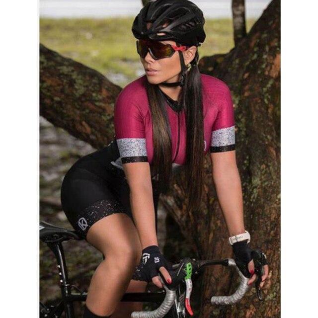 Moda feminina triathlon manga curta camisa de ciclismo define skinsuit maillot ropa ciclismo bicicleta jérsei roupas macacão 1