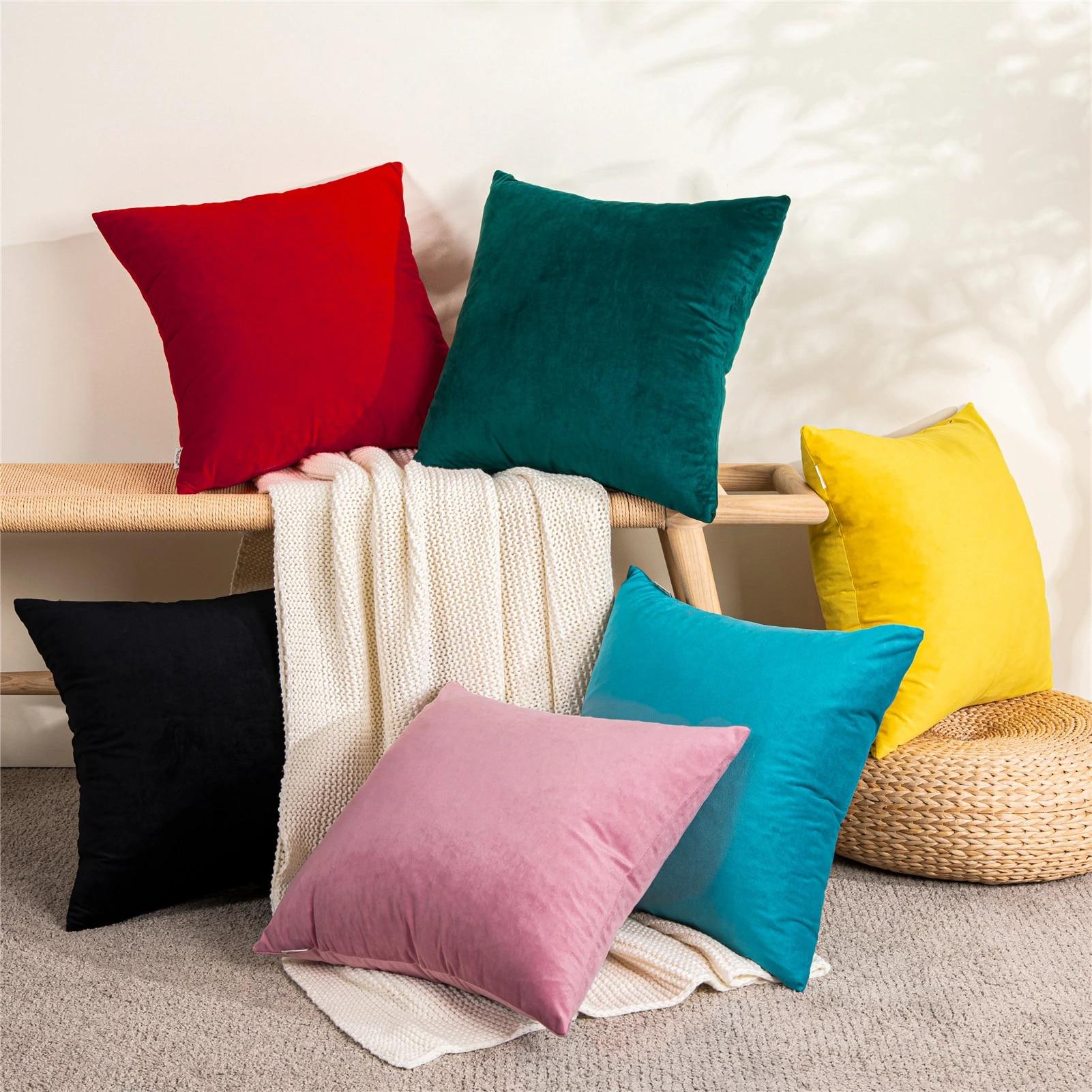 velvet pillow cases cushion cover soft solid square decorative pillow covers sofa cushion throw pillow 45x45cm 40x40cm