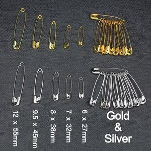 50 pzs DE SEGURIDAD dorados/plateados DIY accesorio de herramientas de costura agujas de Metal 6mm-12mm Pin de seguridad grande pequeño broche accesorios de ropa