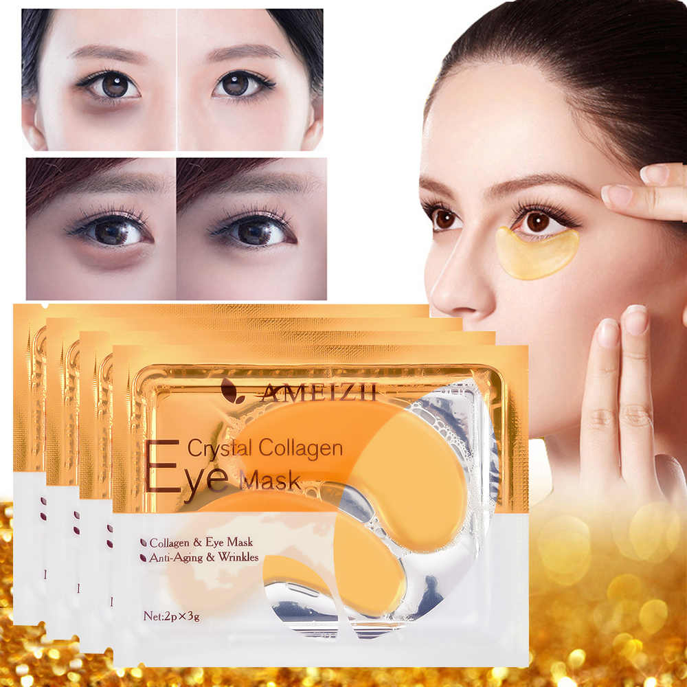 2Pcs = 1 คู่ 24K Gold Crystal Collagen Eye Mask Eye Patches สำหรับ Eye Care Dark วงกลมลบ anti-Aging Wrinkle Skin Care TSLM2