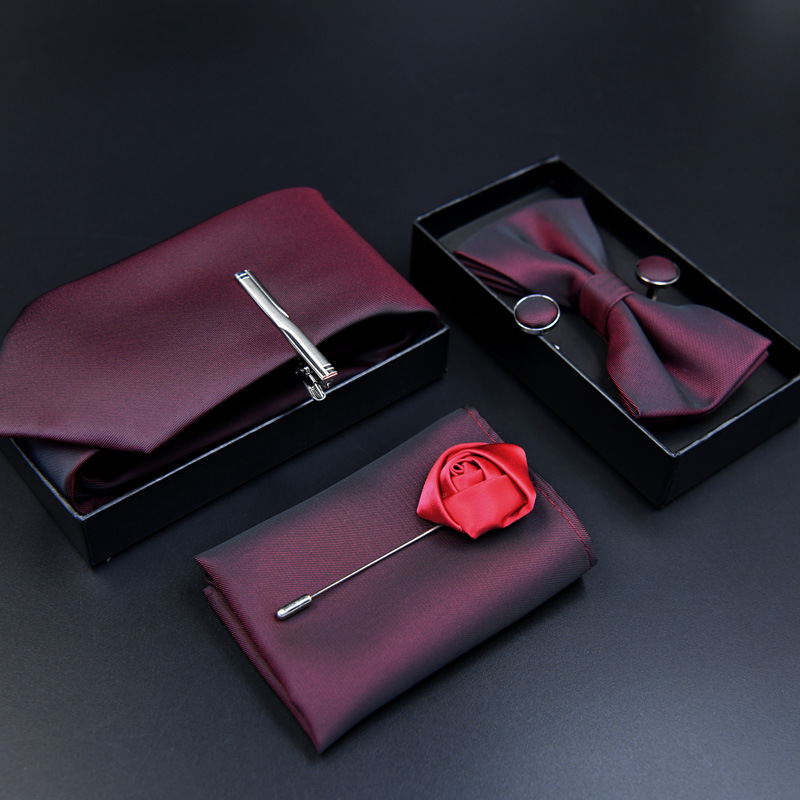 6pcs luxury Tie Set for Man Fashion Mens Ties Pocket Square Clip Brooch  Formal Dress Necktie wedding party men gift