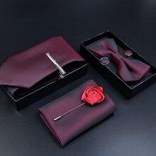 6pcs luxury Tie Set for Man Fashion Mens Ties Pocket Square Clip Brooch  Formal Dress Necktie wedding party men gift
