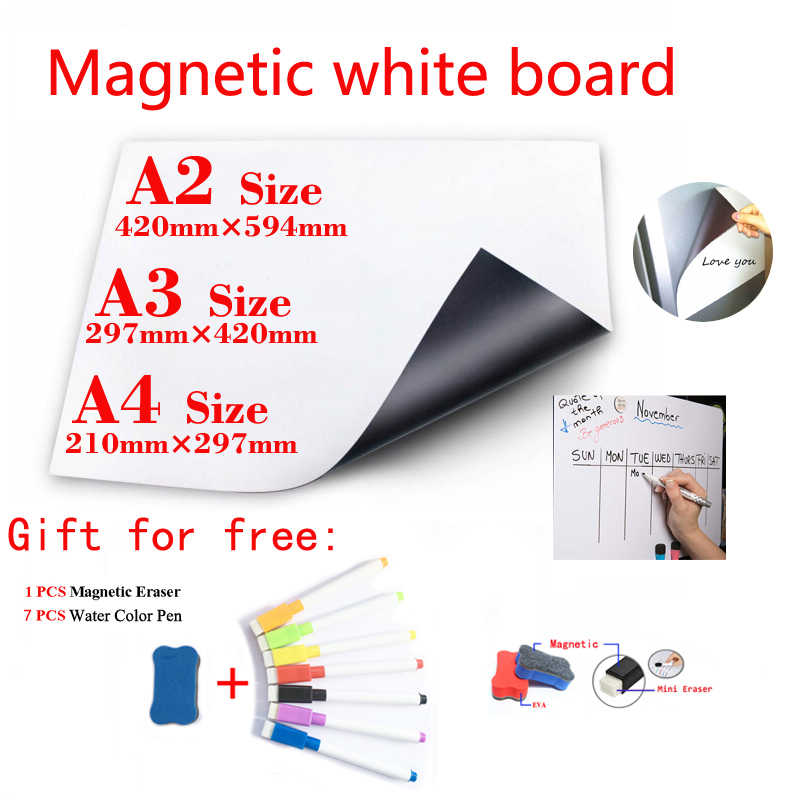 Magnetic WhiteBoard Fridge Magnets Dry-erase Calendar Kids School Board Memo White Board Gift 7 Color Pen and 1 Erasser