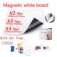 Magnetic WhiteBoard Fridge Magnets Dry-erase Calendar Kids School Board Memo White Board Gift 7 Color Pen and 1 Erasser