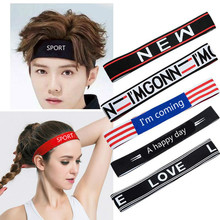 Elastic Sports Headband Letters Sweat Scarf High Quality Fabric Outdoor For Young Men And Women 10 Patterns