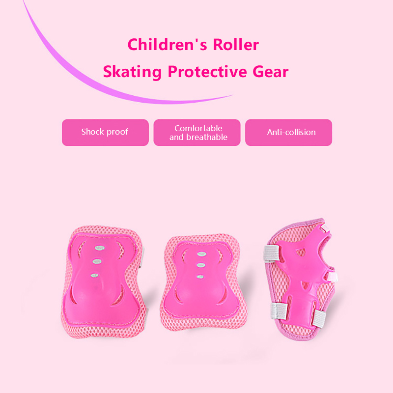 6pcs/set Children's Outdoor Sports Protective Gear Knee Elbow Pads Riding Wrist Hand Skating Safety Protection For Girl And Boy