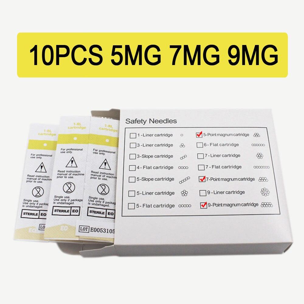 Tattoo Needle 10pcs/lot 5/7/9MG Disposable Sterilized Permanent Makeup Cartridge Needles Tips For Eyebrow Lip Agulha Easy Click