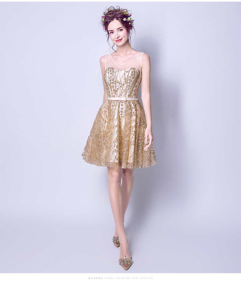 2019 Spring Gongzhubuluo Coloured Glaze Shine Gilding Sequin Bridesmaid Dress Annual General Meeting Performance Wedding Dress S