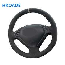 Mano de bricolaje-negro de punto cómodo de protector para volante de coche para Infiniti G G25 G35 G37 EX EX35 EX37 Q Q40 Q60 QX50 (US)