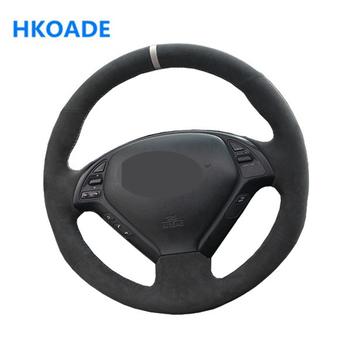 DIY ręcznie czarny z nitką wygodne zamszowe osłona na kierownicę do samochodu Infiniti G G25 G35 G37 EX EX35 EX37 Q Q40 Q60 QX50 (US) tanie i dobre opinie HKOADE CN (pochodzenie) Other Kierownice i piasty kierownicy 0 3kg Driving in all seasons can comfortably absorb sweat 16cm