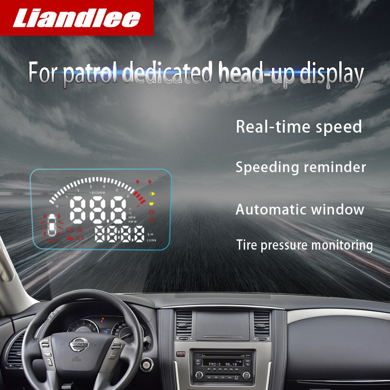 Liandlee For Nissan patrol Y62 2018 2019 Safe Driving Screen Full Function OBD Car HUD Head Up Display Projector Windshield in Head up Display from Automobiles Motorcycles