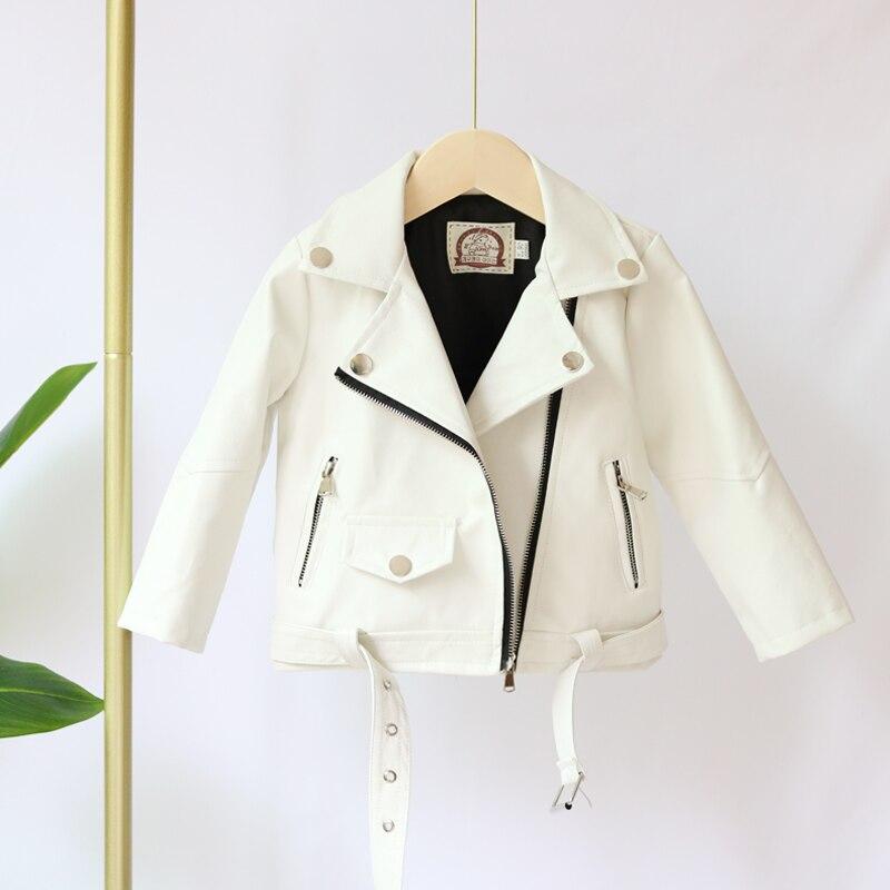 Детские кожаные куртки для девочек, белые весенние кожаные куртки 2020, пальто и верхняя одежда для девочек, детские мотоциклетные куртки, пал...