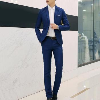 Asian size Wedding Suit set 2Pcs Male Blazers Lapel Button Long Sleeve Slim Blazer Suit For Men Costume Business Formal Party