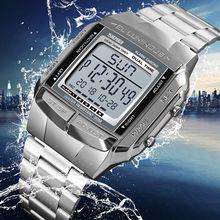 Skmei stacja europejska prosty mały złoty kwadrat mężczyźni Trend elektroniczny zegarek wodoodporny budzik świetlny stół reloj homb1381
