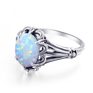 Image 2 - Szjinao Opal Rings 925 Sterling Silver Angel  Witcher Jewelry Accessories Stone Ring Cut Fire Luxury For Women Christmas Gifts