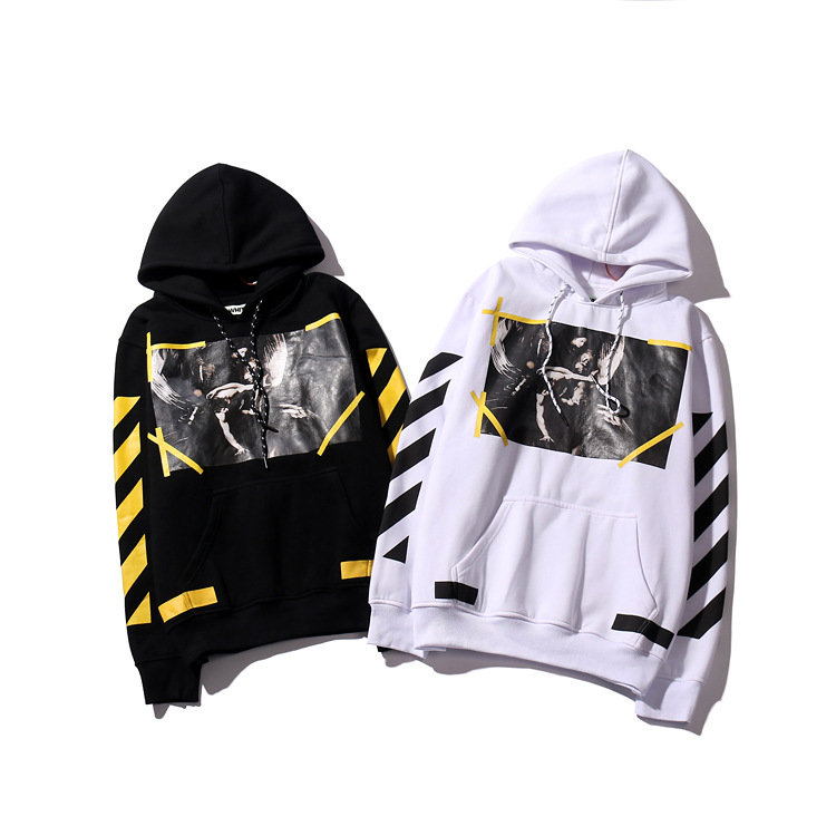 Autumn & Winter Europe And America Popular Brand New Style Men And Women Celebrity Style Teenager Yellow Stripe Religious Heat T