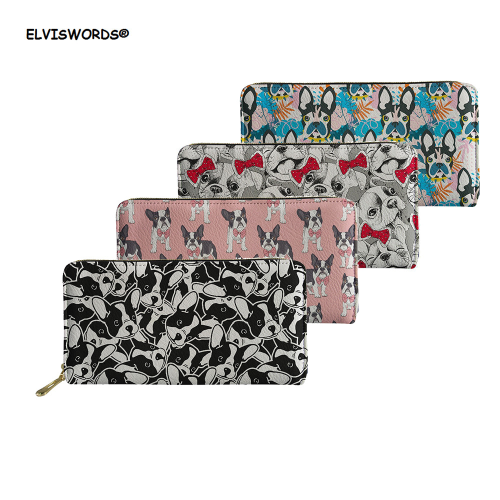 ELVISWORDS Luxury Zipper Wallets Female Bulldog Design Long Larger Card Purse Cash Coin Phone Case Lady Party Wallet Women 2019