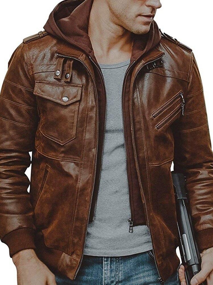 Mens Jackets Coats Biker-Leather Motorcycle Winter Casual New European PU Windbreaker