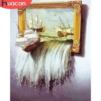 HUACAN DIY Pictures By Number Boat Kits Drawing On Canvas Painting By Numbers Seascape Hand Painted Paintings Art Home Decor