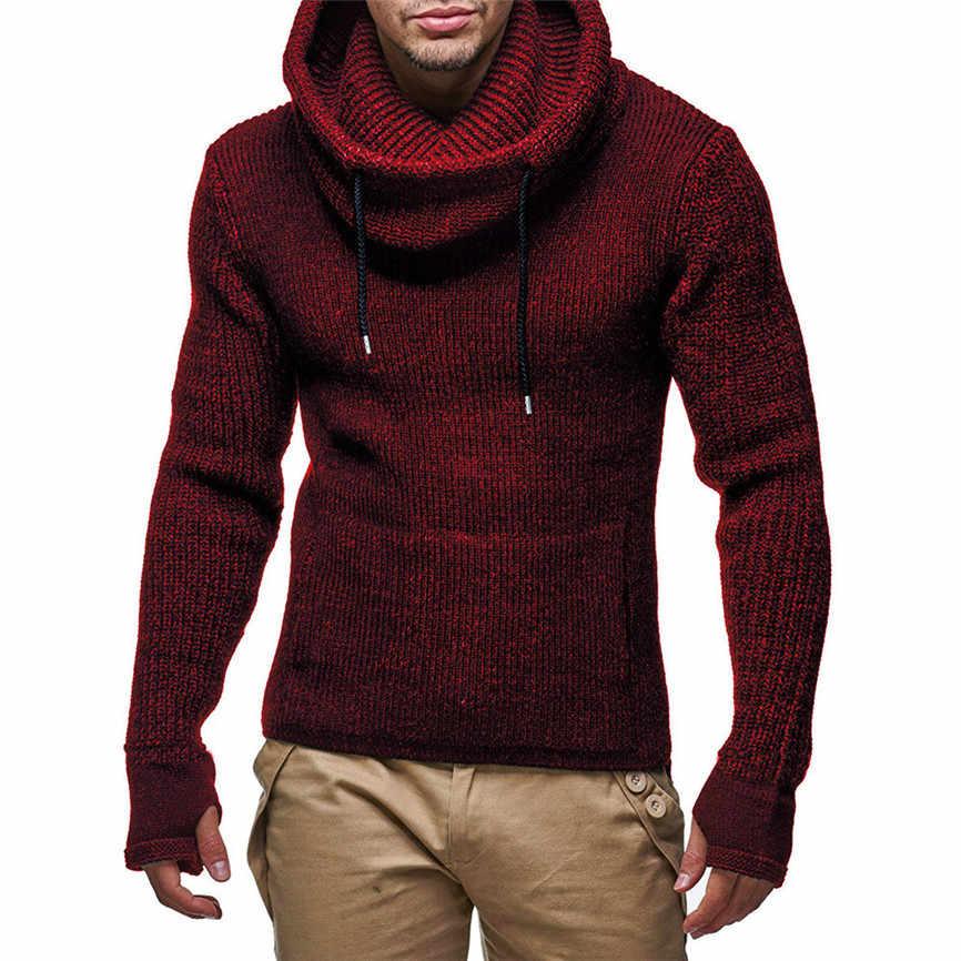 ชายเสื้อผ้า 2019 Mens ยาวคอเสื้อกันหนาวถักเสื้อจัมเปอร์เสื้อฤดูใบไม้ร่วงฤดูหนาว Camisola รายชื่อใหม่
