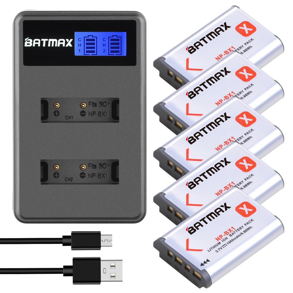 Batmax NP-BX1 NP BX1 NPBX1 bateria 1860mAh + LCD Dual Carregador Para Sony FDR-X3000R RX100 AS100V AS300 HX400 HX60 AS50 WX350 AS300V
