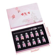 цена на 12 Colors Bottled Dip Glass Pen Ink With 1Pc Cherry Blossom Rain Fountain Dip Writing Signature Pen Art Supplies Gifts