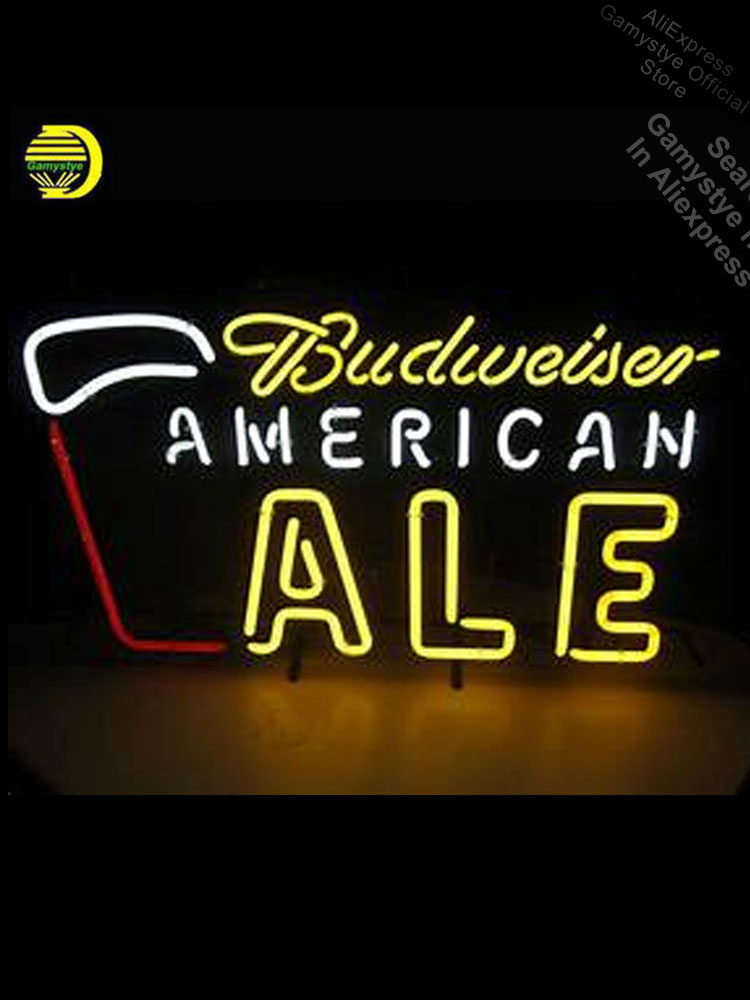 Budweise American ALE Neon Light Sign GLASS Tube Handcraft Beer Wall Light Crown Roya Sign bud light neon sign Neon Sign Car image