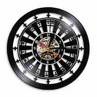 Casino Gambling Roulette LED Wall Clock Las Vegas Wall Decor 777 Poker Game Vinyl Record Wall Clock Playing Card Clock Watch