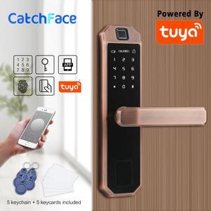 Image 1 - Электронный Bluetooth код блокировки дверей, карта, сенсорный экран, цифровой пароль, WIFI смарт замок с приложением Tuya Smart