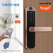 Código de bloqueo de puerta de huella Digital Bluetooth electrónico, tarjeta, pantalla táctil de llave bloqueo de contraseña Digital WIFI cerradura inteligente con aplicación inteligente Tuya