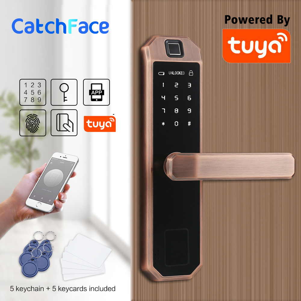 Electronic Bluetooth Fingerprint Door Lock Code,Card, Key Touch Screen Digital Password Lock WIFI Smart Lock With Tuya Smart APP