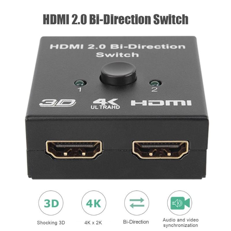 2 In 1 Output HDMI Splitter 4K HDMI Two-way Switcher For 4K HDR HDCP2.2 Adapter Various Specifications Wide Range Of Uses