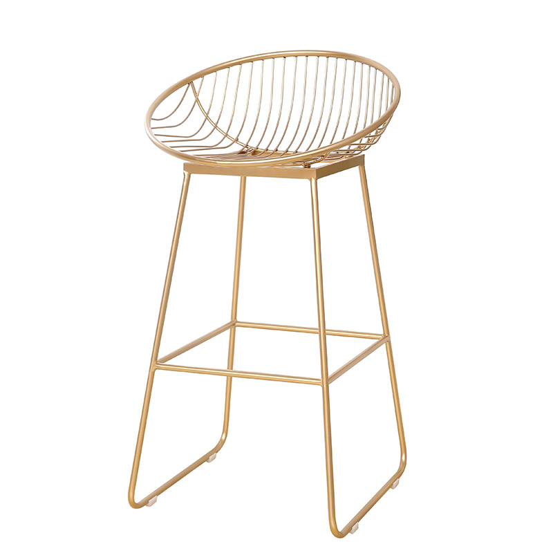 H1 62cm/72cm Nordic Bar Stool Chair Creative Coffee Chair Gold High Stool Simple Dining Chair Wrought Iron With Soft Cushion
