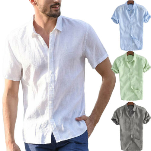 Men Shirt Cotton Linen Soft Short Sleeve Cowboy Summer Button Cool Loose Casual V Neck Shirts Top Slim Fit Tee Beach Blouse