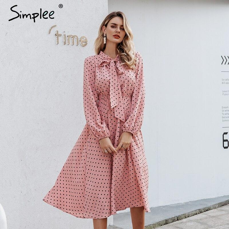 Женское платье в горошек Simplee, Розовое свободное платье в горошек с v-образным вырезом, длинное праздничное платье с бантом, осень 2019