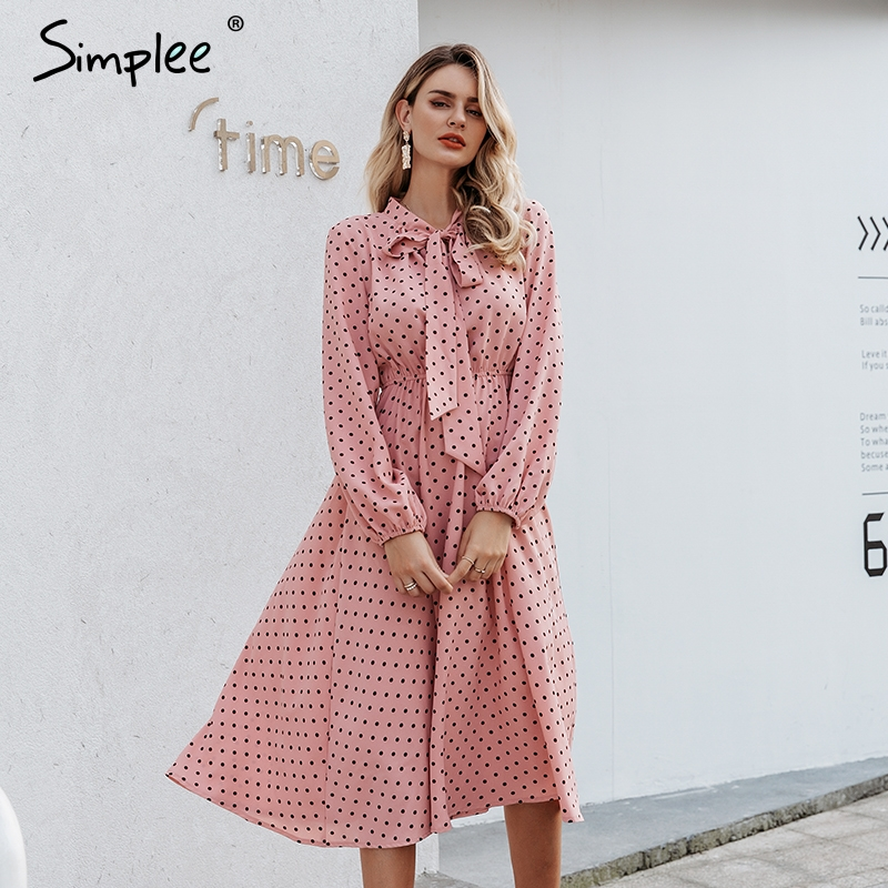 Simplee Elegant V-neck Polka Dot Dress Sexy V-neck Lantern Pink Dress Loose Holiday Autumn Women Chic Bow Long Party Dress 2019