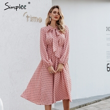 Simplee אלגנטי v צוואר מנוקדת שמלה סקסי צווארון v פנס ורוד שמלת Loose חג סתיו נשים שיק קשת ארוך המפלגה שמלת 2019