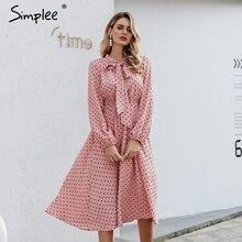 Simplee 우아한 v 목 폴카 도트 드레스 섹시한 v 목 랜턴 핑크 드레스 느슨한 휴가 가을 여성 세련된 활 긴 파티 드레스 2019