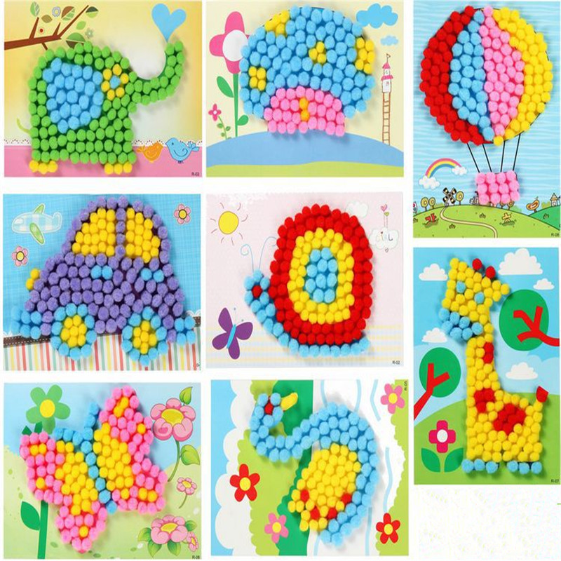 Crafts Toy Creative DIY Plush Ball Painting Stickers Children Educational Handmade Material Cartoon Puzzles