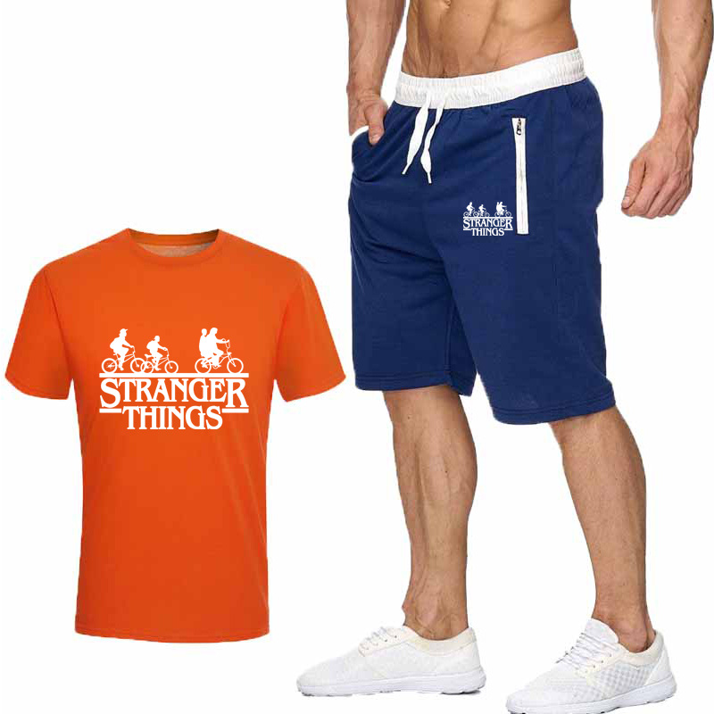 2019 Hot Men's Summer Clothes T-shirt + Beach Pants Suit Casual White Printing STRANGER THINGS Navy Beach Pants Cotton T-shirt