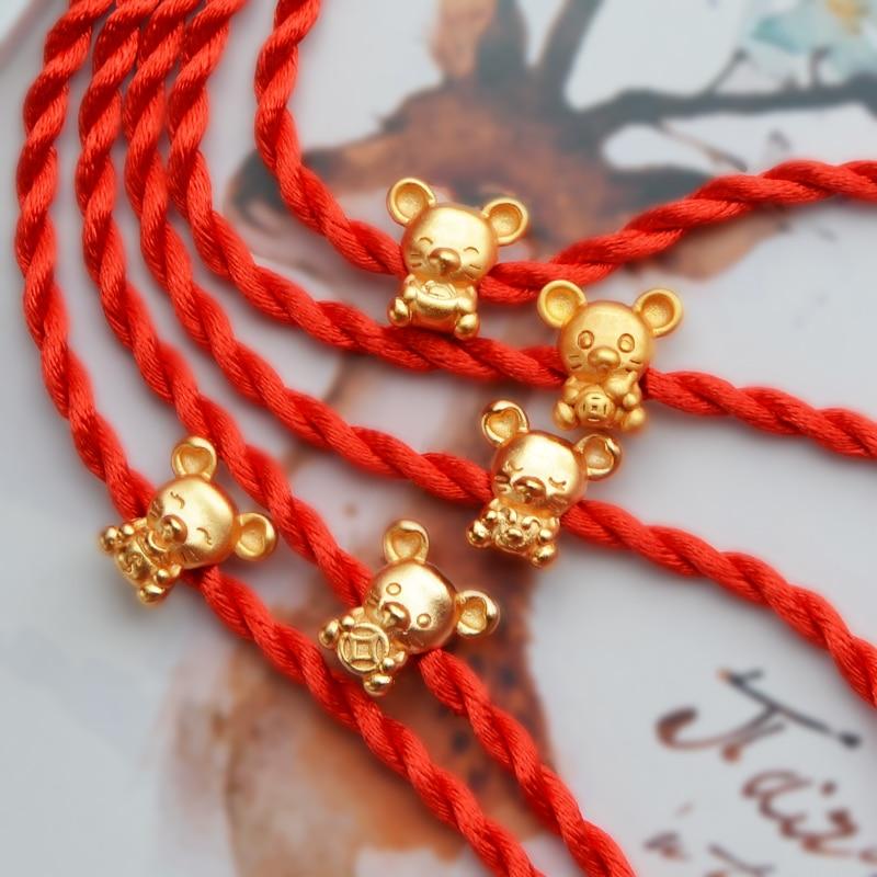 KOFSAC 2020 Chinese Style Zodiac Rats Shakin Bracelets For Women Birthday Mini Animal Red Rope Bangle Jewelry Girl New Year Gift